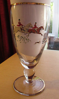 Vintage 1950's/60's Fox Hunting Themed Painted Tall Glass
