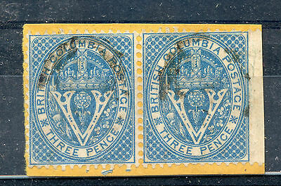 British Columbia 7 Fine used pair on piece, #4 Yale cancel, ex. Wallace. CV$320+