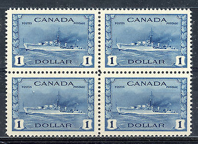 Canada 262 VF NH block of 4, 1942 War Issue $1 Destroyer, pristine OG. CV $600+