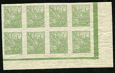 Brazil 513 Mint NH/H 1941-42 Lower right 20r olive green imperf block of 8