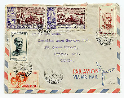 Madagascar 1954 Airmail cover to Ottawa, 5-stamp franking with small cachet