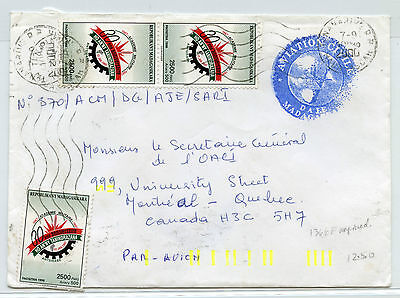 Madagascar 2000 Aviation Civile airmail cover to Montreal, Canada