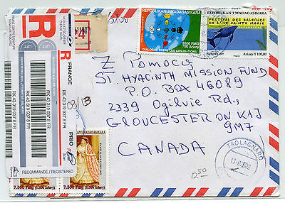 Madagascar 2009 Registered airmail cover to Gloucester, ON from Taolagnaro