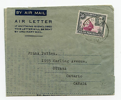 Uganda 1954 Air Letter to Ottawa, intact with single 50c franking