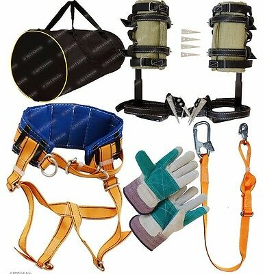 Tree Climbing Spikes Spurs Gaffs, Safety Belt, Adjustable Lanyard, Bag, Gloves