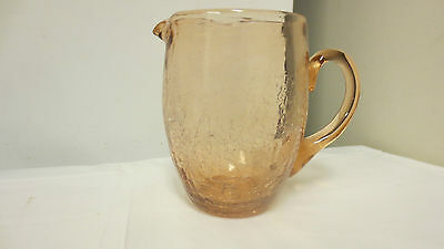 Older Crackle Glass Small Pink Pitcher-Applied Handle-small Spout