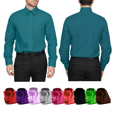 Dress Shirts Men's Regular Fit Oxford Long Sleeve One Pocket Solid Color Shirt