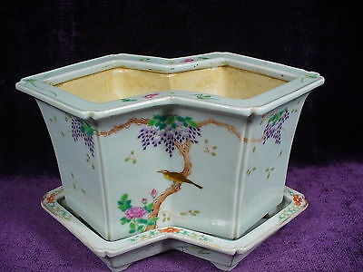 Antique Chinese famille rose porcelain planter Daoguang mark 大清道光年制