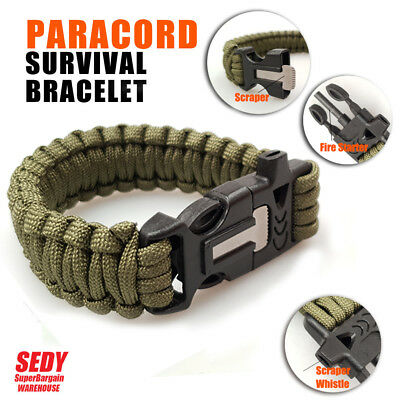 Paracord Bracelet Whistle Flint Survival Gear Camping Outdoor Hiking Para Cords
