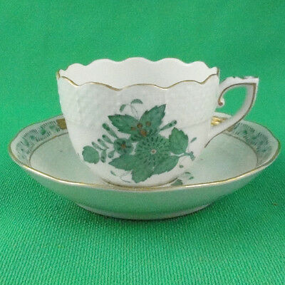 Herend Chinese Bouquet Green Espresso Cup/Saucer 724-1 NEW NEVER USED 24kt Gold