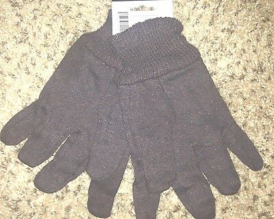 12 Par Pack Brown Jersey Industrial And  Work Safety Gloves (PPE) size L