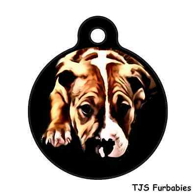 Pitbull Puppy Brown-Custom Personalized Pet ID Tag for Dog Collars & Harnesses