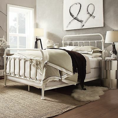 queen size bed frame antique white shabby chic metal cottage headboard classic
