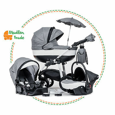 Baby Pram Pushchair 3in1 Travel System Buggy Optional Car Seat