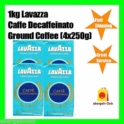 1kg Lavazza Caffe Decaffeinato Decaf Ground Coffee 4x250g Decaffeinated