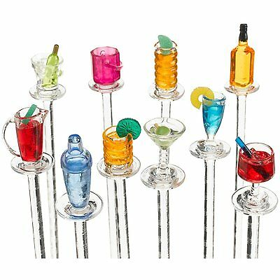 Prodyne Happy Hour Acrylic Cocktail Swizzle Sticks - Set of 10