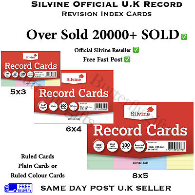 Revision Flash Index Silvine Record Cards White/Plain/Ruled/Coloured Free P+P