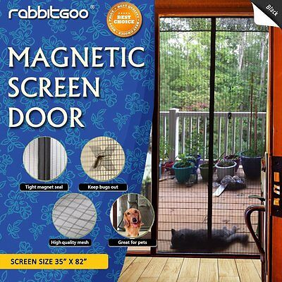 Rabbitgoo Magnetic Screen Door Black Reattach Frame Mesh Curtain Fits Door