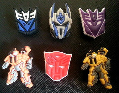 6 x Transformers croc shoe charms crocs jibbitz wristbands