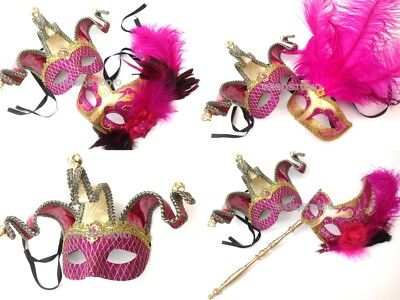 Hot Pink Masquerade Ball Feather Mask Pair Sweet 16s Quincenera Birthday Party