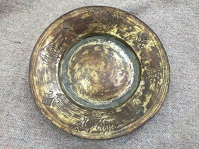 Antique Islamic Copper Plate Ottoman Persia Armenian Tombak Engraved Written Rar
