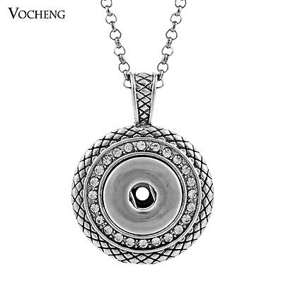 10pcs/lot Vocheng Snap Charm Pendant Necklace Stainless Steel Chain NN-032*10
