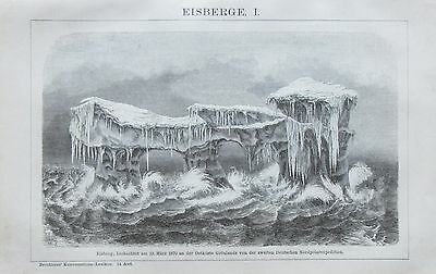 EISBERGE I-II 1892 Original 2 alte Drucke Antik Lithografie antique prints