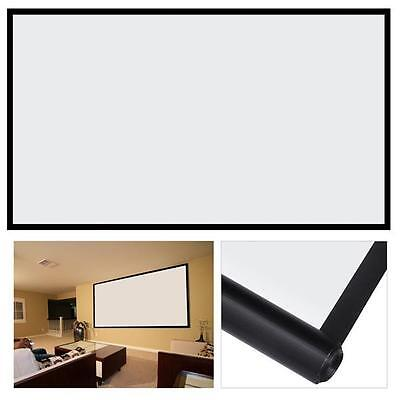 100''16:9 Manual Projection Screen Pull Down Projector Matte White Home Cinema