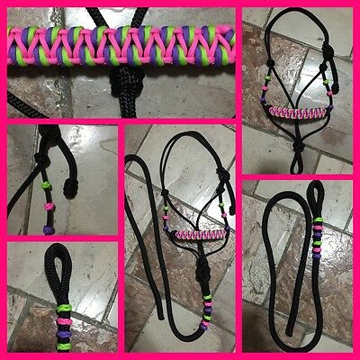 BNWT Pony Size Rope Halter Black With 6ft Lead ~ Horse Gear Tack Horsemanship