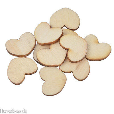200PCs Wood Heart Shaped Embellishments Scrapbooking & Sewing 1.5cm