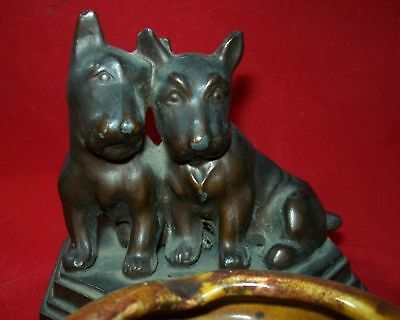 Antique Cast Metal Nuart Scotty Dogs  Ashtray Ceramic