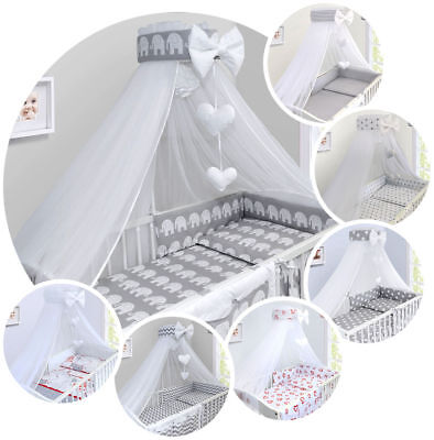 BABY BEDDING SET COT COTBED 3 6 10 14 Pieces PILLOW DUVET COVER BUMPER CANOPY