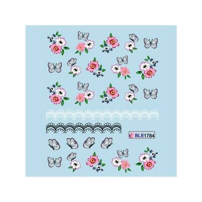 Nail Art Water Decals Transfers Purple Flowers Roses Lace Gel Polish 1785