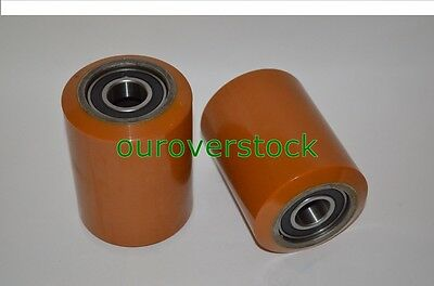 "A Pair of Brand New Pallet Jack Poly Load Wheels With Bearings 3.25""D x 4.50""W"