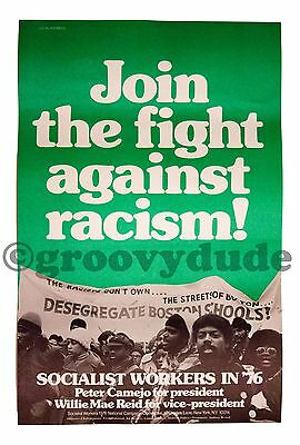 Fight Racism 1976 Vote Socialist Workers Camejo President Reid Campaign Poster