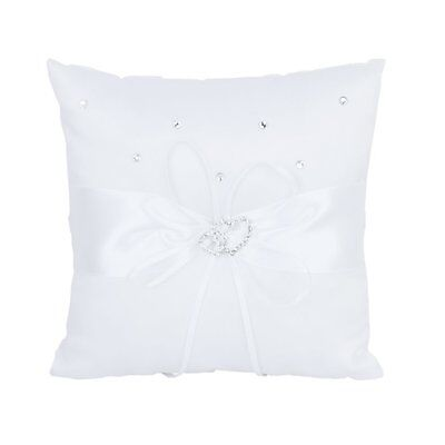 20 x 20cm Double-Heart Wedding Pocket Ring Bearer Pillow Cushion--White AD