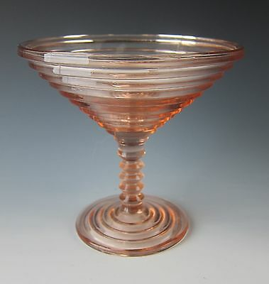 Anchor-Hocking Glass MANHATTAN-PINK Round Compote(s) EXCELLENT