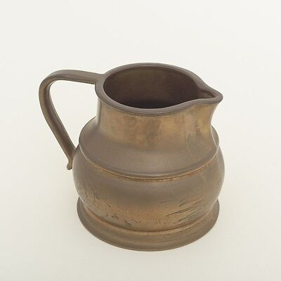 """Antique Potbelly Rustic Handmade Thick Solid Brass Cream Jug Pitcher 4.5"""" Tall"""
