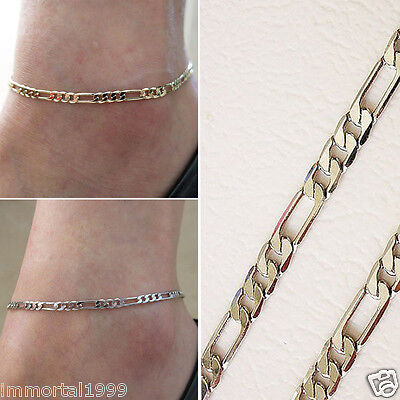 Bracelet cheville couleur Or ou Agent maille figaro taille Ajustable