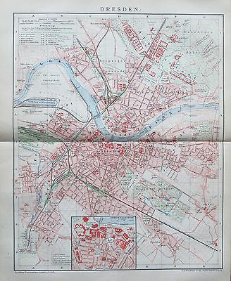 DRESDEN 1892 Original alter Stadtplan Landkarte antique city map Lithographie