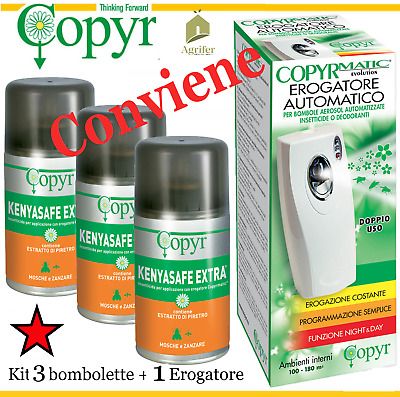 Copyr Evolution Dispenser Copyrmatic Kit 1 + 3 Kenyasafe Mosche Zanzare