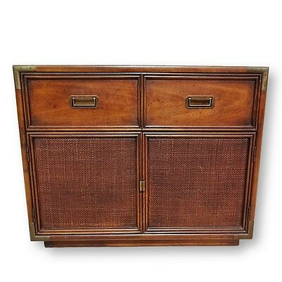 Vintage Henredon Campaign & Cane Small Cabinet Chest w/ Brass Mid Century Modern