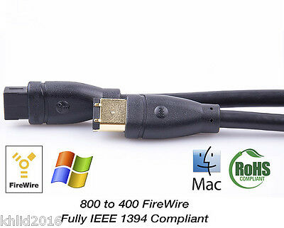 FIREWIRE 800 to 400 9 Pin to 6 Pin Cable Lead *GOLD*