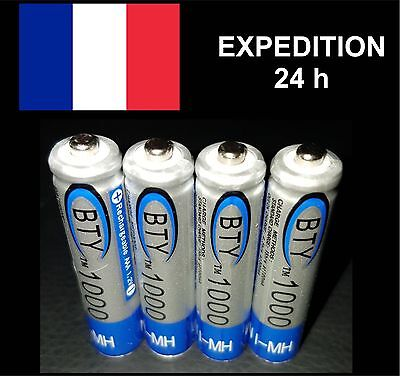 4 piles rechargeables BATTERIES ACCU LR03 AAA 1000 mAh Neuves accus