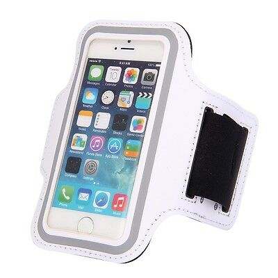 Neoprene Sports Gym Running Arm Armband Case iPhone 5 5S 5C - White