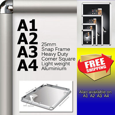 LOTS A1 A2 A3 A4 PREMIUM Aluminum Snap poster frame Sign holder wall mount round
