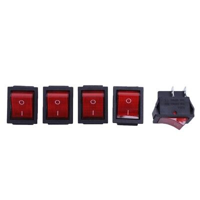 5 x Red Illuminated Light On/Off DPST Boat Rocker Switch 16A/250V 20A/125V AD