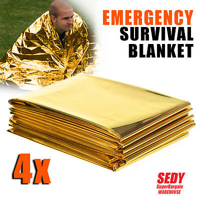 4x Space Blankets PREMIUM Thermal Emergency Survival Camping Rescue First Aid