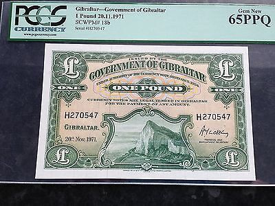 Gibraltar 1 One Pound P18b Dated 20th November 1971 PCGS Gem New 65 PPQ UNC
