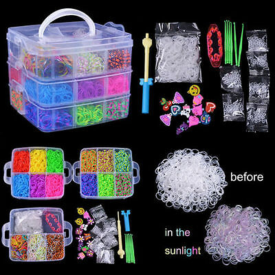 New Wholesale 4800 X Rainbow Colourful Rubber Loom Bands Bracelet Making Kit